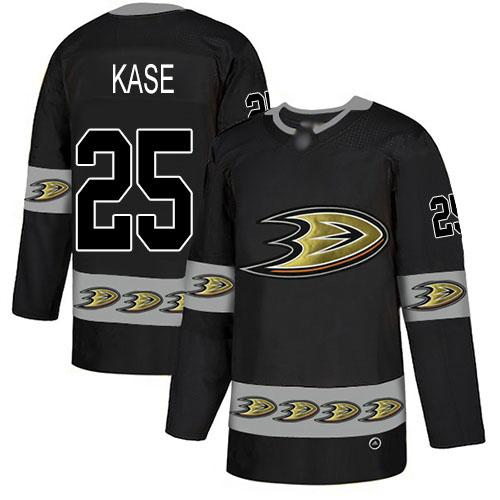 Men's Anaheim Ducks #25 Ondrej Kase Black Authentic Team Logo Fashion Hockey Jersey