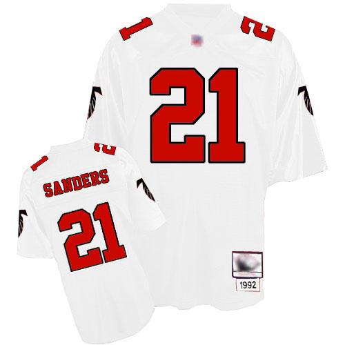 Authentic Men's Deion Sanders White Road Jersey: Football Atlanta Falcons #21 Throwback