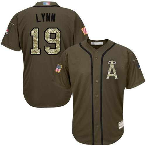 #19 Authentic Fred Lynn Men's Green Baseball Jersey - Los Angeles Angels of Anaheim Salute to Service