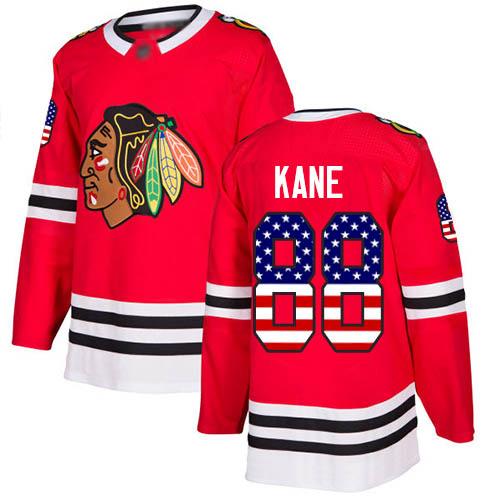 #88 Authentic Patrick Kane Men's Red Hockey Jersey - Chicago Blackhawks USA Flag Fashion