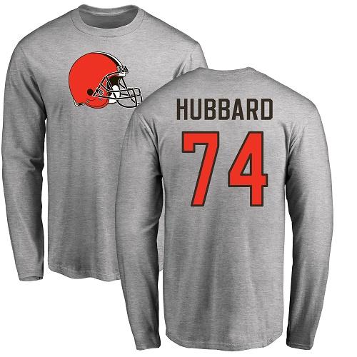 #74 Chris Hubbard Ash Football Jersey - Name & Number Logo Cleveland Browns Long Sleeve T-Shirt