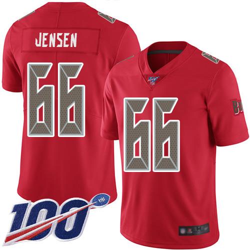 Football Ryan Jensen Men's Limited Red Jersey: #66 Tampa Bay Buccaneers 100th Season Rush Vapor Untouchable