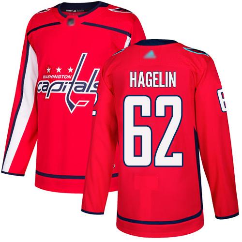 #62 Premier Carl Hagelin Men's Red Hockey Jersey - Home Washington Capitals