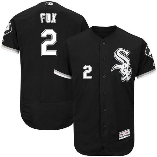 Men's Authentic Nellie Fox Black Alternate Jersey - #2 Baseball Chicago White Sox Flex Base