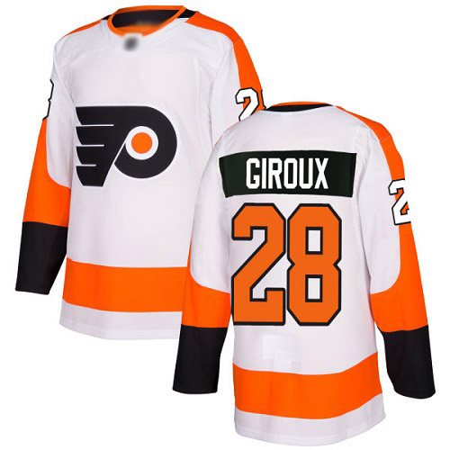 #28 Authentic Claude Giroux Men's White Hockey Jersey - Away Philadelphia Flyers