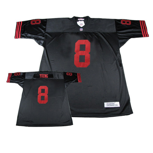 Authentic Men's Steve Young Black Jersey: Football San Francisco 49ers #8 Throwback