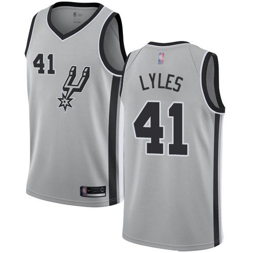 #41 Swingman Trey Lyles Men's Silver Basketball Jersey - San Antonio Spurs Statement Edition