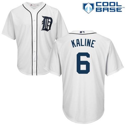 Men's Detroit Tigers #6 Al Kaline Replica White Home Cool Base Baseball Jersey