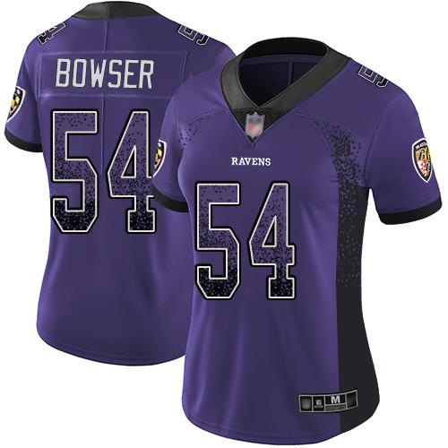 #54 Baltimore Ravens Tyus Bowser Limited Women's Purple Jersey: Football Rush Drift Fashion