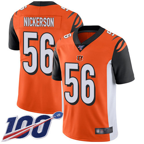 Hardy Nickerson Youth Orange Limited Jersey: #56 Football Alternate Cincinnati Bengals 100th Season Vapor Untouchable