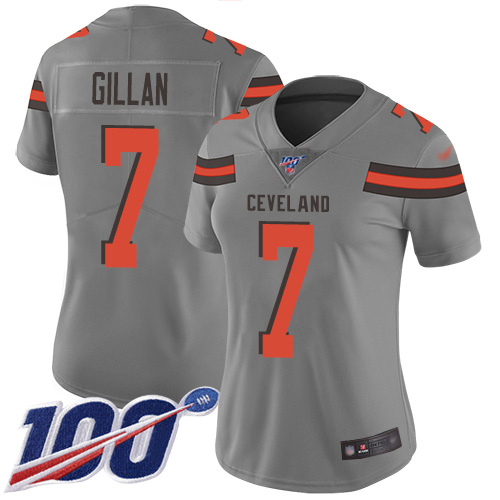 Jamie Gillan Women's Gray Limited Jersey: #7 Football Cleveland Browns 100th Season Inverted Legend