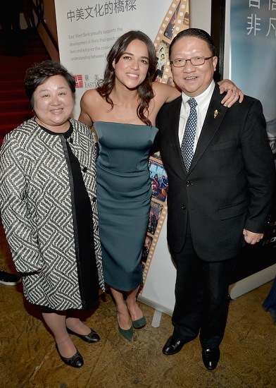 HOLLYWOOD, CA - NOVEMBER 03: (L-R) General Manager for EDI Media Slina Su, actress Michelle Rodriguez, and CAFF Chairman James Su attend the 11th Annual Chinese American Film Festival Opening Ceremony at The Montalban Theatre on November 3, 2015 in Hollywood, California. (Photo by Charley Gallay/WireImage)