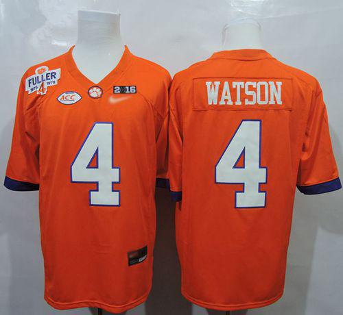 Tigers #4 Deshaun Watson Orange 1975-1978 Fuller 2016 College Football Playoff National Championship Patch Stitched NCAA Jersey