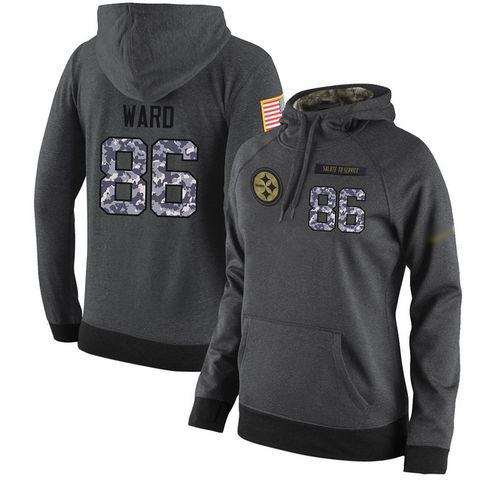 NFL Women's Nike Pittsburgh Steelers #86 Hines Ward Stitched Black Anthracite Salute to Service Player Performance Hoodie