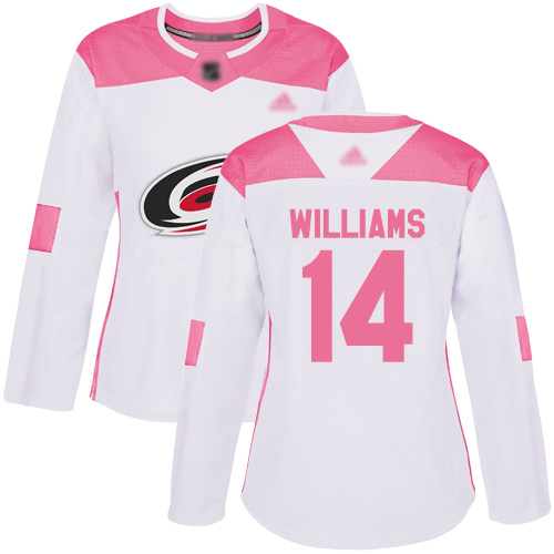 Adidas Hurricanes #14 Justin Williams White/Pink Authentic Fashion Women's Stitched NHL Jersey