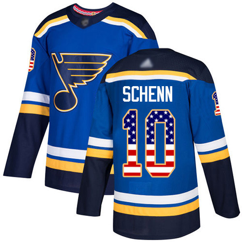 Adidas Blues #10 Brayden Schenn Blue Home Authentic USA Flag Stitched Youth NHL Jersey