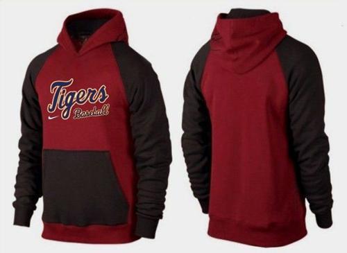 Detroit Tigers Pullover Hoodie Burgundy Red & Black