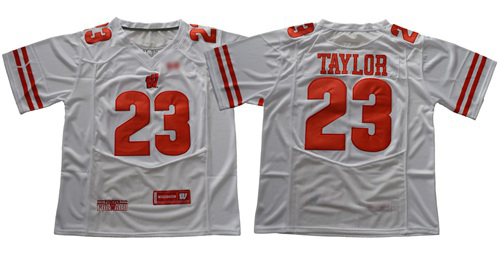 Badgers #23 Jonathan Taylor White Under Armour Stitched NCAA Jersey
