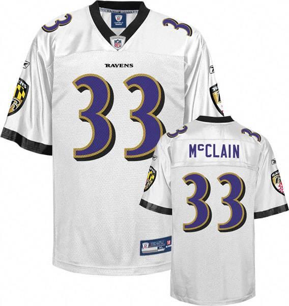 Ravens #33 Le'Ron McClain White Stitched NFL Jersey