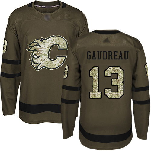 Adidas Flames #13 Johnny Gaudreau Green Salute to Service Stitched NHL Jersey