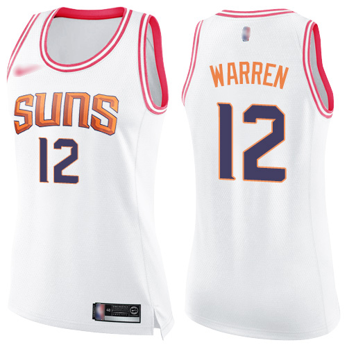 Nike Suns #12 T.J. Warren White/Pink Women's NBA Swingman Fashion Jersey
