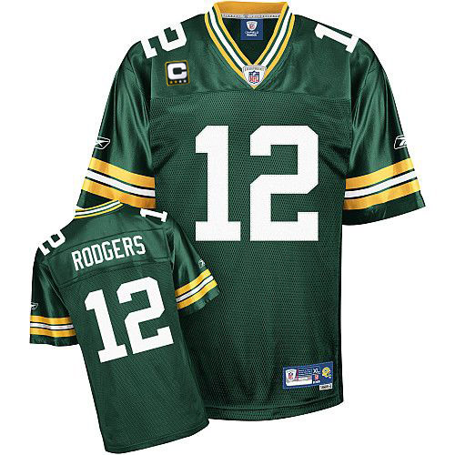 Packers #12 Aaron Rodgers Green With C patch Stitched NFL Jersey
