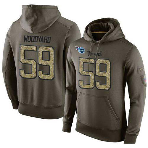 NFL Men's Nike Tennessee Titans #59 Wesley Woodyard Stitched Green Olive Salute To Service KO Performance Hoodie