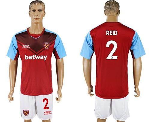 West Ham United #2 Reid Home Soccer Club Jersey