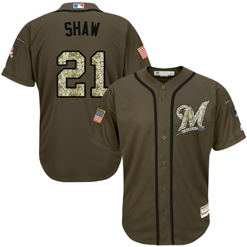 Brewers #21 Travis Shaw Green Salute to Service Stitched Youth Baseball Jersey