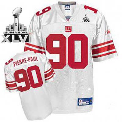 Giants #90 Jason Pierre-Paul White Super Bowl XLVI Stitched Youth NFL Jersey