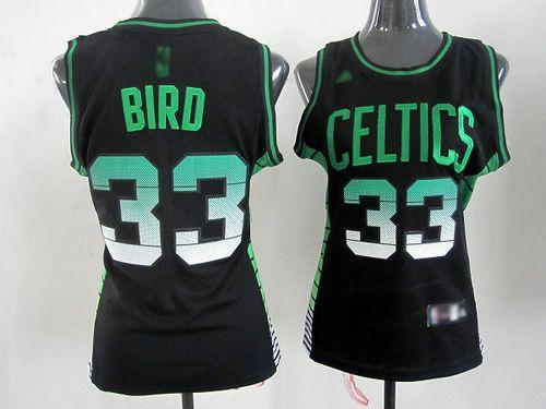 Celtics #33 Larry Bird Black Vibe Women's Stitched NBA Jersey