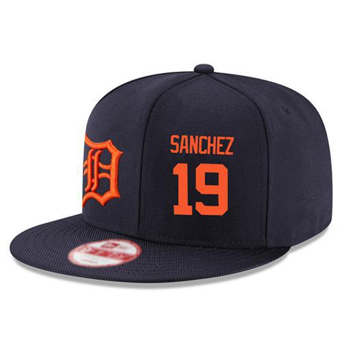Men's Detroit Tigers #19 Anibal Sanchez Stitched New Era Navy Blue 9FIFTY Snapback Adjustable Hat