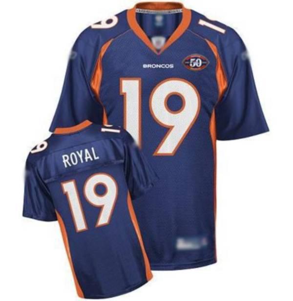 Broncos #19 Eddie Royal Blue Team 50th Anniversary Patch Stitched NFL Jerseys