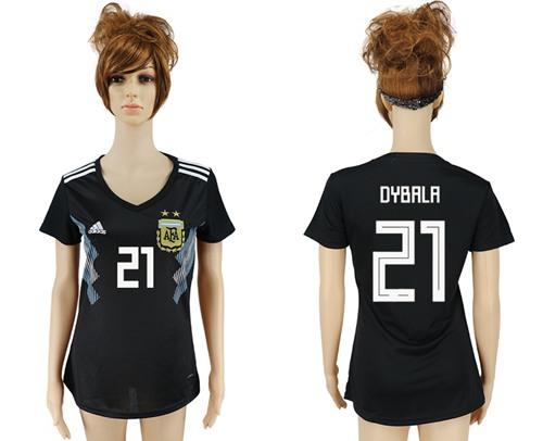 Women's Argentina #21 Dybala Away Soccer Country Jersey