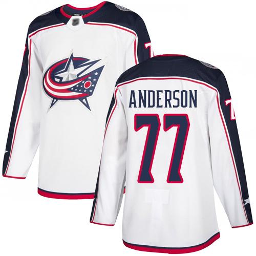 Men's Authentic Josh Anderson White Away Jersey - #77 Hockey Columbus Blue Jackets