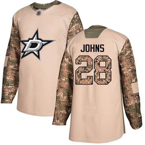 Men's Dallas Stars #28 Stephen Johns Camo Authentic Veterans Day Practice Hockey Jersey