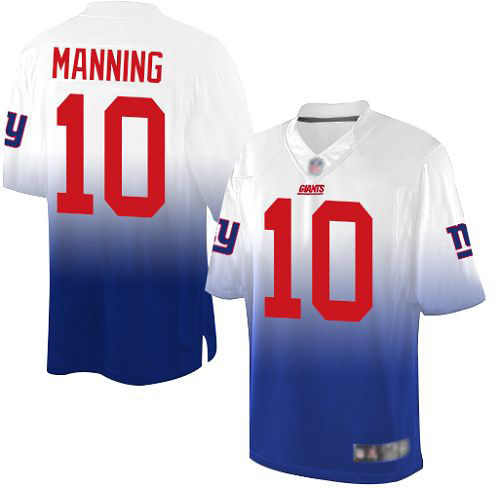 Youth New York Giants #10 Eli Manning Elite White/Royal Fadeaway Football Jersey