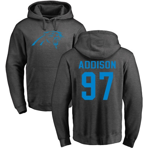 Mario Addison Ash One Color - Carolina Panthers Football #97 Pullover Hoodie