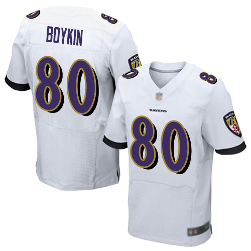 Baltimore Ravens Miles Boykin Men's Elite White Jersey - #80 Football Road
