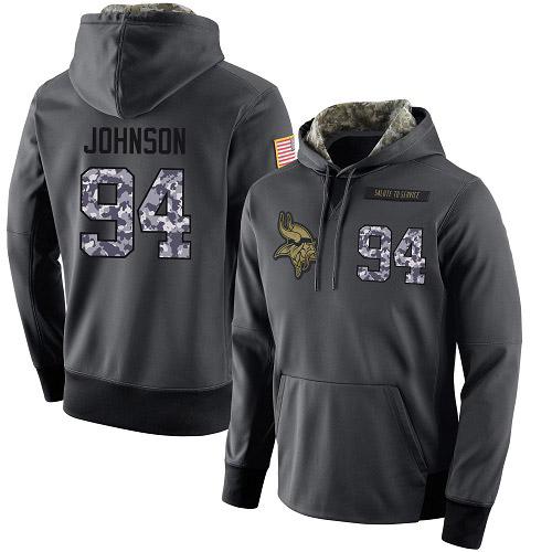 NFL Men's Nike Minnesota Vikings #94 Jaleel Johnson Stitched Black Anthracite Salute to Service Player Performance Hoodie