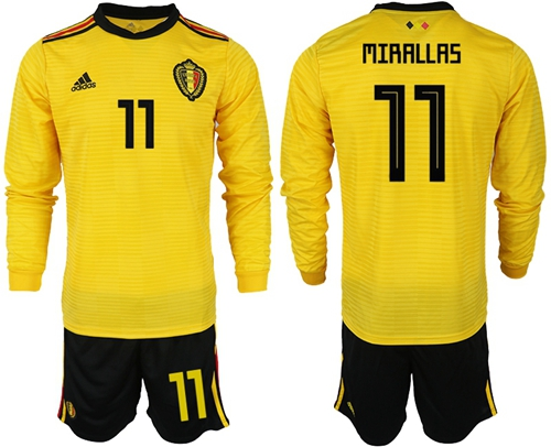 Belgium #11 Mirallas Away Long Sleeves Soccer Country Jersey