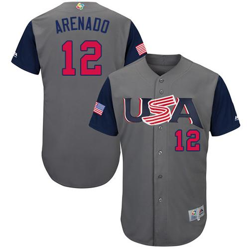Team USA #12 Nolan Arenado Gray 2017 World Baseball Classic Authentic Stitched Youth Baseball Jersey