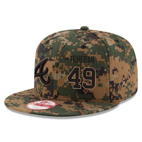 Men's Atlanta Braves #49 Julio Teheran Stitched New Era Digital Camo Memorial Day 9FIFTY Snapback Adjustable Hat