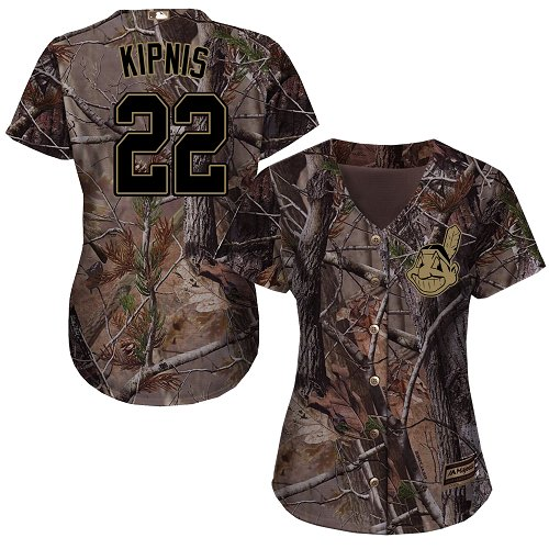 Indians #22 Jason Kipnis Camo Realtree Collection Cool Base Women's Stitched MLB Jersey