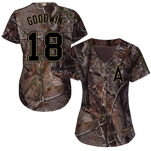 Women's Authentic Brian Goodwin Camo Jersey - #18 Baseball Los Angeles Angels Of Anaheim Flex Base Realtree Collection
