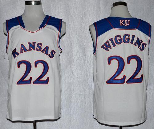 Jayhawks #22 Andrew Wiggins White Basketball Stitched NCAA Jersey