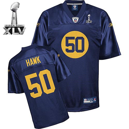 Packers #50 A.J. Hawk Blue Super Bowl XLV Stitched NFL Jersey