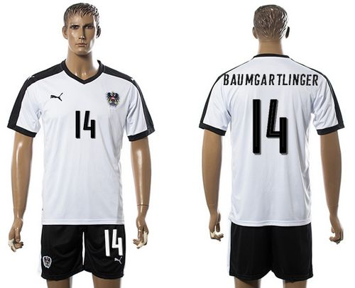Austria #14 Baumgartlinger White Away Soccer Country Jersey