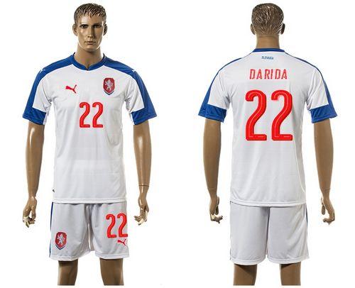Czech #22 Darida Away Soccer Country Jersey