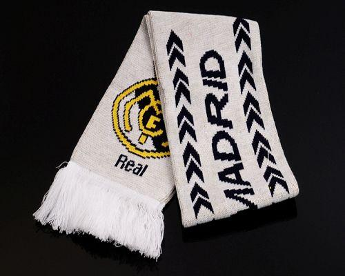 Real Madrid Soccer Football Scarf White